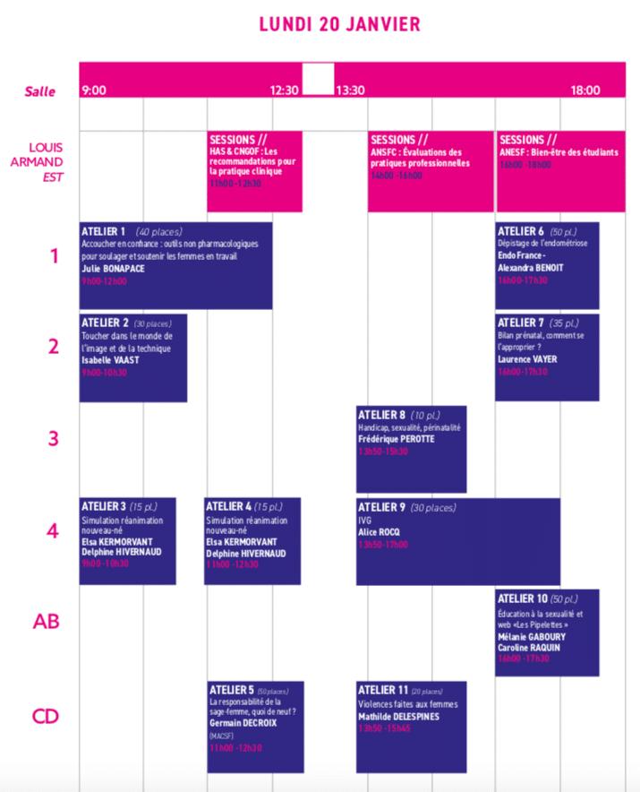 La planning des ateliers du lundi 20 janvier 2020